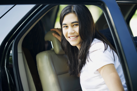 teen in car
